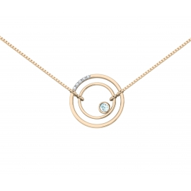 Collier sunshine vermeil rose, diamants et topazes bleues
