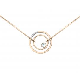 Collier sunshine vermeil rose, diamants et topazes bleues