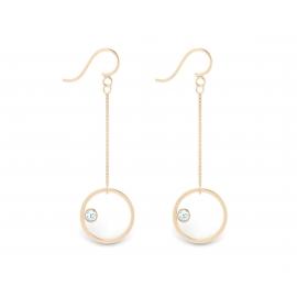 Boucles d'oreilles sunshine en argent massif 925 plaqué or rose 18 carats et topazes bleues
