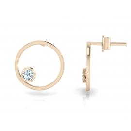 Boucles d'oreilles sunshine en argent palqué or rose 18 carats et topazes bleues