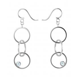 Boucles d'oreilles sunshine en argent massif 925 et topazes bleues