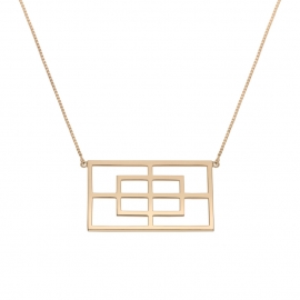 Collier rectangle reflet vermeil rose