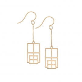 Boucles d'oreilles rectangle reflet vermeil rose
