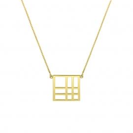 Collier carré reflet argent