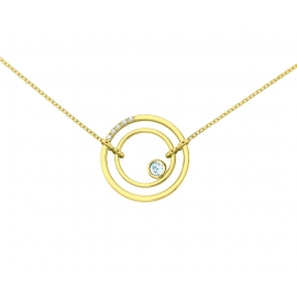 Collier sunshine vermeil jaune, diamants et topazes bleues