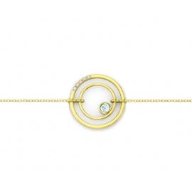 bracelet sunshine vermeil jaune, diamants et topazes bleues