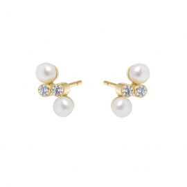 Eternal kô stud earrings - 18K yellow gold & diamonds