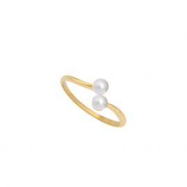 Bague 2 Eternal kô - Or jaune 18K & perles