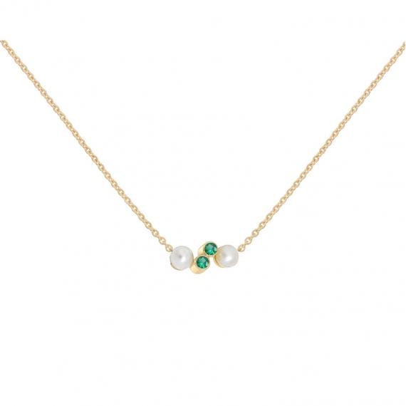 Collier eternal kö - or jaune et diamants et perles