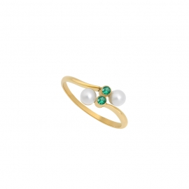 Eternal kô ring - 18K yellow gold & emeralds