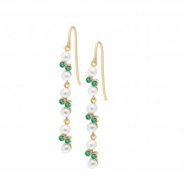 Eternal kô earrings - 18K yellow gold & emeralds