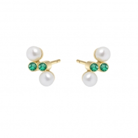 Eternal kô stud earrings - 18K yellow gold & emeralds