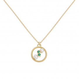 Eternal kô necklace - 18K yellow gold & emeralds