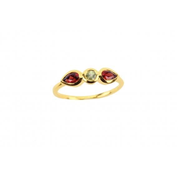 Lotus ring - Peridot & Garnet