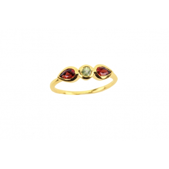 Lotus ring - Peridot & Garnet