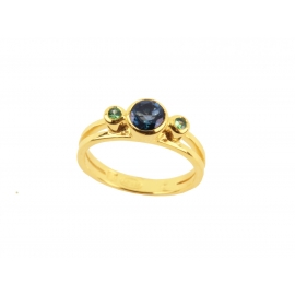 Emma ring - Blue London Topaz & Tsavorites