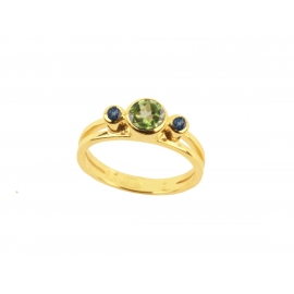 Emma - Blue London Topazes & Peridot Ring