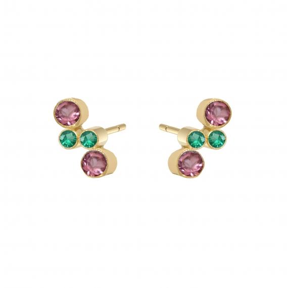 puces d'oreilles eternal kö - or jaune et diamants et perles