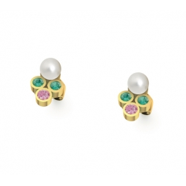 Gold Stud earrings with pearls, emeralds and pink sapphires