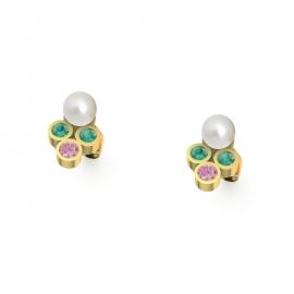 Puces d'oreilles en or, perles, émeraudes et saphirs roses