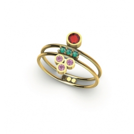 gold ring with ruby, emeralds and pink sapphires