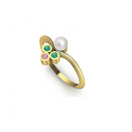 Bague or, perle, émeraudes et saphir rose
