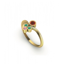 Gold ring with ruby, emeralds and pink sapphire