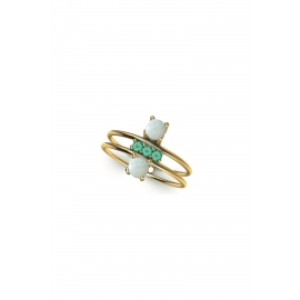 gold ring with opals & emeralds