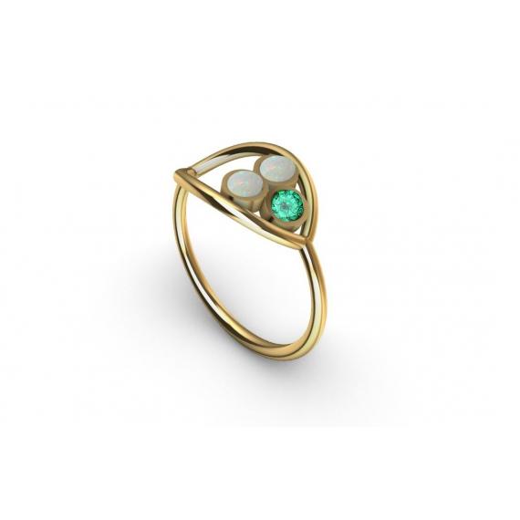 Bague en or, émeraude et opales