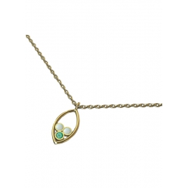 Collier en or, émeraude et opales