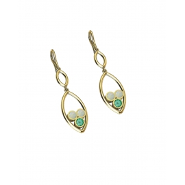 Gold, emerald and opals earrings