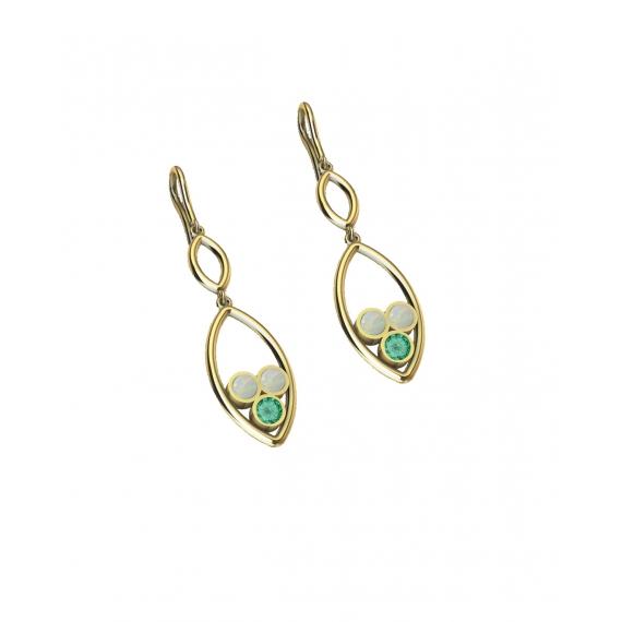 Boucles d'oreilles en or, émeraude et opales