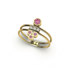 Bague double en or, diamants et saphirs roses