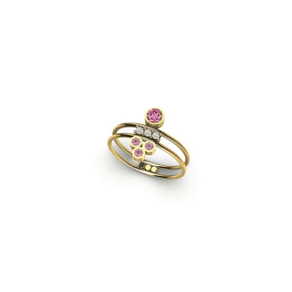 Bague double en or et diamants et saphirs roses
