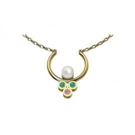 Collier en or, perle, émeraudes et saphir rose