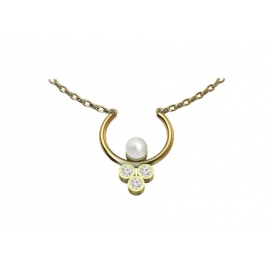 Gold Necklace with pearl, emeralds and pink sapphire