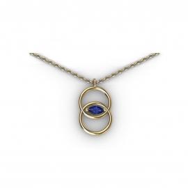 Collier en or et saphir bleu