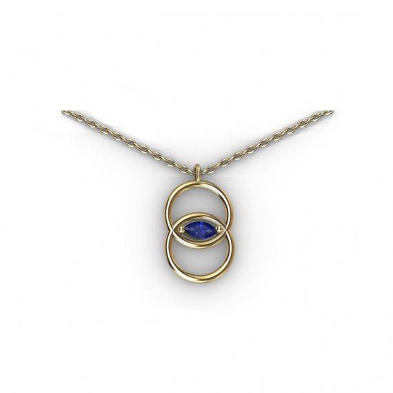 Collier en or et saphir bleu