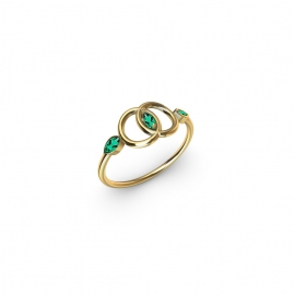 18 carats yellow gold and emeralds ring