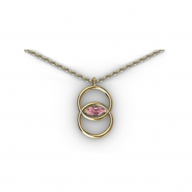 yellow gold and pink sapphire necklace