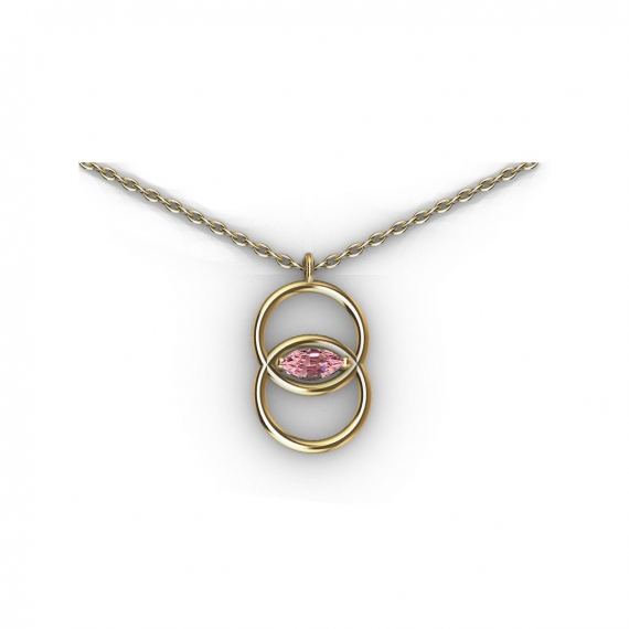 Collier en or et saphir rose