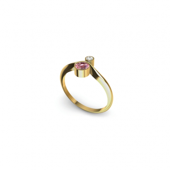 Gold ring with diamond and pink sapphire