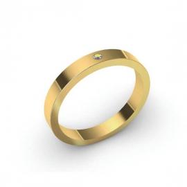Alliance Dahlia 4 mm - Or 18 carats et diamant