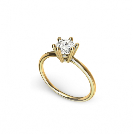 Solitaire ring - 18k gold, diamond 0,40 ct