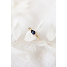 Sky ring - 18k gold, blue sapphire/ruby and diamonds