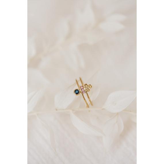 Bague double en or, diamants et saphirs roses