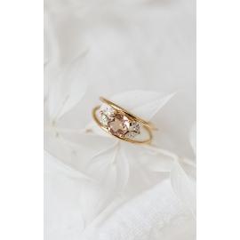 Bague morganite - Or 18 carats, morganite et diamants