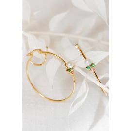 Créoles en or, perles, émeraudes et saphirs roses