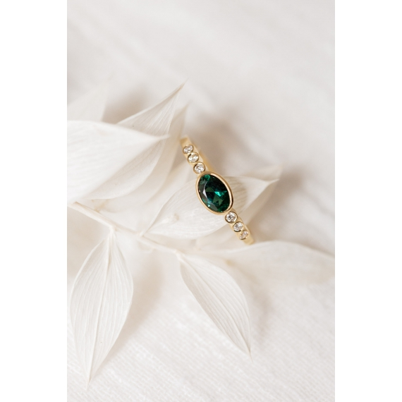Lucy in the sky ring - 18k gold, tourmaline & diamonds