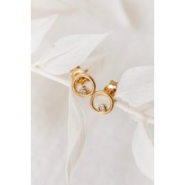 Gold Stud earrings with diamonds